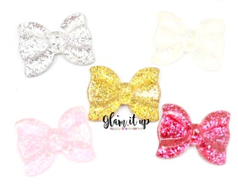 Glitter Bow Resin-Large Bow Resin- bow center- Glitter Bow Flatback resin- Glitter bow cabochon-Decoden- center-hair bow-cell phone decoden