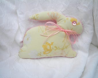 Stuffed Bunny Rabbit. Vintage Sheet. Chenille. Vintage Ribbon. Yellow Floral. Shabby chic decor. Handmade. One-of-a-Kind. Stuffed animal.