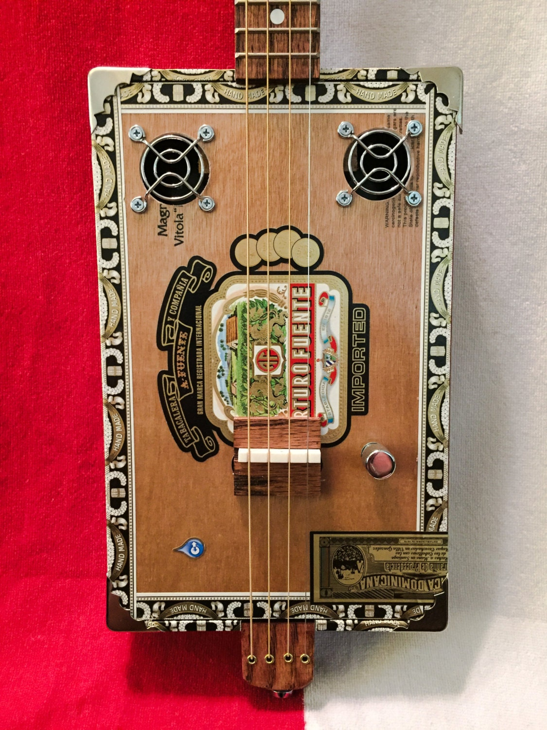 four string cigar box guitar w piezo pickups by tejascbgco on etsy. Black Bedroom Furniture Sets. Home Design Ideas
