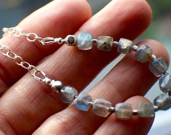 Labradorite Bracelet, Sterling Silver Bracelet, Hill Tribe Silver, Adjustable Bracelet, Blue Flash Gems, Gemstone Bracelet