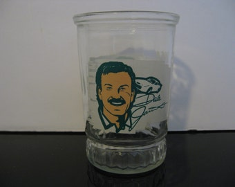 Vintage 1980's Dale Jarrett Bama Jelly Jar Glass - Champion Driver Series Nascar