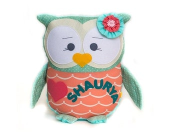 Kids pillow Mint and coral pillow birthday gift Nursery pillows Owl pillow Decorative cushion Custom gift Personalized pillow Shower gifts