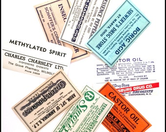Vintage Medicine Bottle Labels - Paper Ephemera - Drug Labels - Gummed Labels