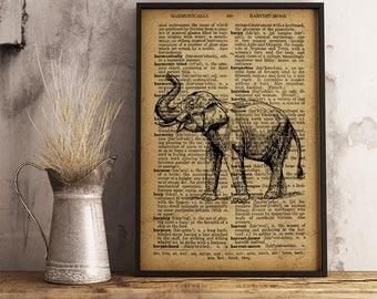 Elephant, Animal Poster Dictionary Art Print, Elephant Vintage illustration wall art, Animal Art Poster, Elephant Poster, Elephant art (A13)