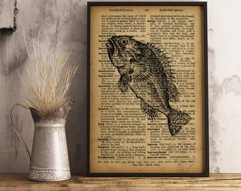Antique fish Print, Fishing art, Gift for Fisherman, Vintage style dictionary print, Old Fish Poster (R29)