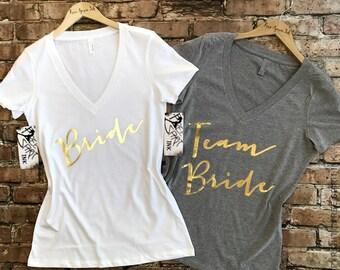 Bride Shirt. Team Bride Shirts. Bridesmaid Shirt. Wifey Shirt. Gold Foil Bridal Party Shirts. Bride Tee. Team Bride. Bachelorette Party.