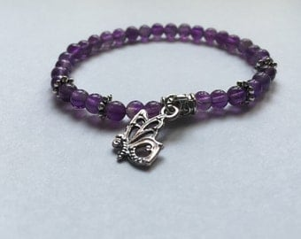 Small Amethyst bracelet and Butterfly