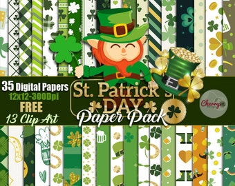 St patricks day, Saint Patrick's Day 35 Digital paper pack with FREE Clip art, shamrock papers, clovers paper pack