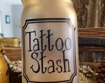 Mason Jar (quart size) Bank for Tattoo Fund
