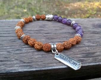 Rudraksha bracelet Buddha jewelry Amethyst Yoga Stretch bracelet Buddhist jewelry Namaste bracelet Meditation Prayer bracelet Men Yoga gift