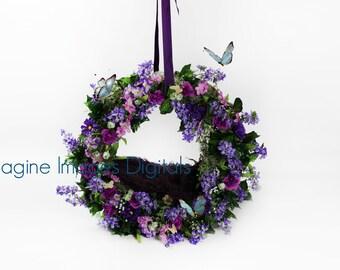 Hanging Purple Butterfly Wreath