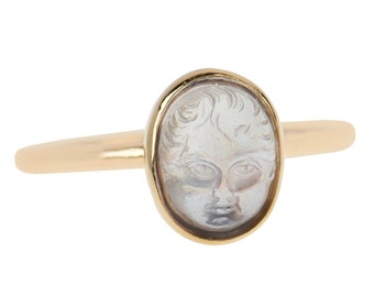 Carved Moonstone Baby Face Ring | Antique Child Face Ring Gold | Edwardian Blue Moonstone Ring || 17708
