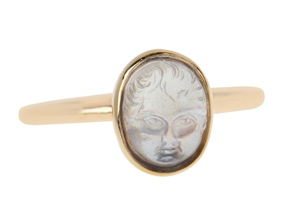 MARKED DOWN Carved Moonstone Baby Face Ring Antique Cameo