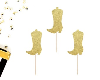 Cowboy Boot Cupcake Toppers (Set of 12) | Country Western Party Decor | Cowboy or Cowgirl Cupcake Toppers | Western Birthday Party Toppers