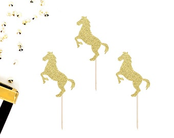 Horse Cupcake Toppers (Set of 12) | Western Party Decor | Cowgirl | Cowboy | Country | Baby Shower | Birthday Party | Glittery Horse Toppers