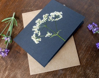 Handmade Original Greeting Card with Pressed Queen Annes Lace