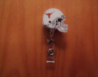 NCAA Texas Longhorns Retractable Reel ID Badge Lanyard Clip Nursing Scrubs