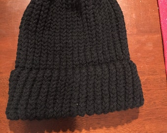 Hand Knitted Woman Black Beanie