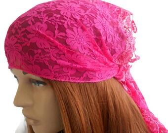 Women Pink Bandana, Pink Bandana, Lace Head Scarf, Scarf Bandana, Summer Hair band, Women Head band, Lace Scarf, Pink Scarf