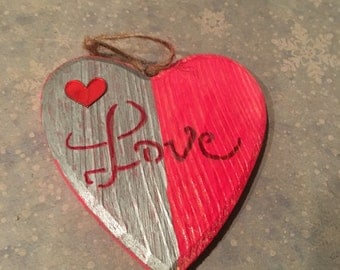 Unique hand made Christmas Love heart shaped Ornament