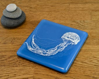 Hand Painted Fused Glass Blue Jellyfish Coaster