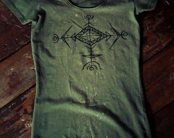 Army green long slim fit t-shirt with handpainted pagan symbols size M