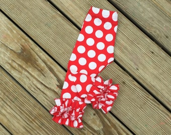 Red big dotted ruffle leggings/christmas girls red dot icings/baby christmas leggings/newborn knit ruffle pants/red dots icings/shower gift