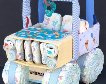 jeep diaper cake, diaper jeep, unique baby gift, diaper cake, baby shower ideas, baby shower gift, baby shower boy, baby girl