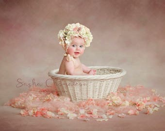 digital backdrop  background newborn baby girl sitter toddler peach white basket