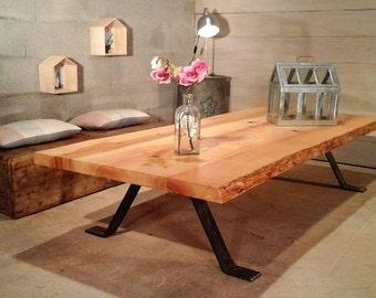 Large table low wood metal