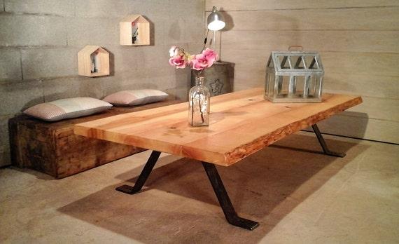 grande table basse bois metal. Black Bedroom Furniture Sets. Home Design Ideas