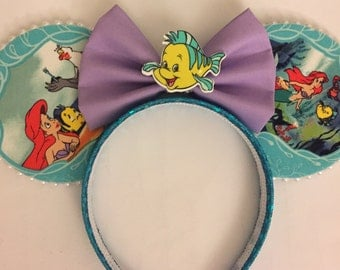 Minnie Ears, Little Mermaid Ears Headband, ariel mickey ears,  ariel minnie ears