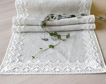 Beige Linen table runner with lace edge dresser scarf Long narrow dining table centerpiece, Coffee table scarf 140 x 29 cm 55 x 11 inch