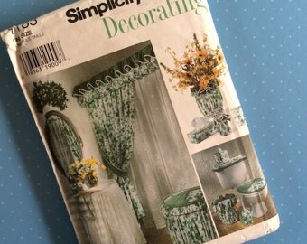 Vintage Sewing Pattern - Simplicity 7183 - Interior Design Pattern -  Home Sewing - Curtains Tissue Box Cover Vase Cover - Retro Home