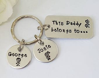 Daddy Gift, This Daddy Belongs To..., Daddy, Dad Keyring Keychain, Hand Stamped Personalised, Father's Day Gift, Daddy, Father, Grandad Gift