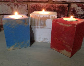 tea light, candle holders made from reclaimed wood, nautical, seaside