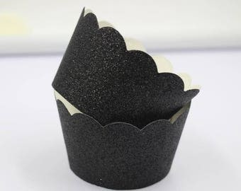 Glitter Black Cupcake Wrappers  Easter & Halloween Supplies Jungle Safari Party Decorations