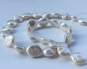 1Full Strand Coin Fresh Water Pearl Beads,White Fresh Water Pearl,Natural Pearl Jewelry Approx 12-13mm