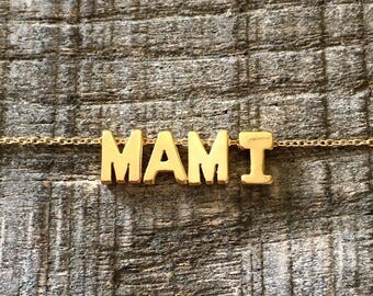 18k Gold Vermeil MAMI  Necklace on a Gold Filled Chain