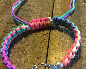 Rainbow #macrame #bracelet with a crab charm
