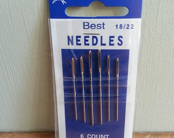 Set of 6 Hand Sewing Assorted Needles Sizes 18 to 22, Double Swallow Brand - Suitable for Embroidery, Sewing Knitted Items, Darning