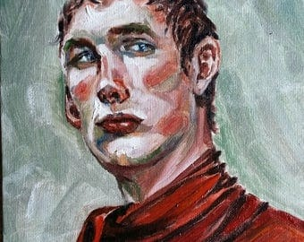 "Original Oil Painting, Man face, 1703214, 10""x8"""