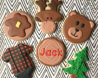 Lumberjack Themed Decorated Cookies