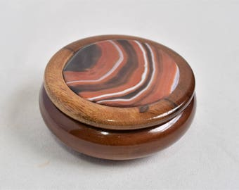 Wooden Agate-Topped Jewelry Box/Jewelry Dish with Lid/Keepsake Trinket Box