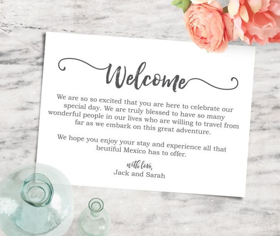 printable editable 5x7 welcome note destination wedding