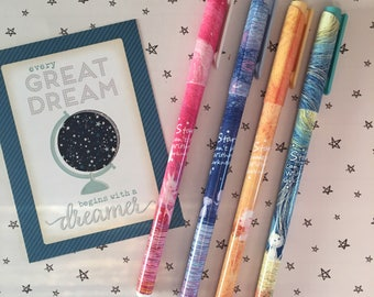 Starry Starry Night Gel Pen - Blue / Pink / Turquoise / Yellow