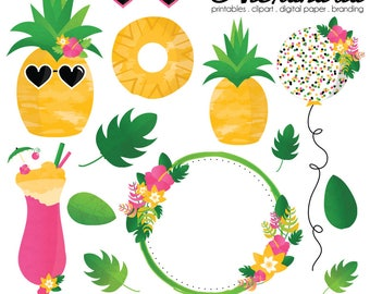 Party Like a Pineapple Digital Clipart - Personal & Commercial Use - Summer Luau Clipart, Tutti Fruit Graphics, Floral Aloha Images