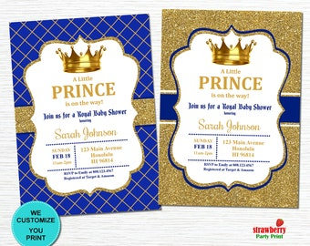 Royal Prince Baby Shower Invitation, Little Prince Baby Shower Invitation, Royal Blue & Gold, Gold Glitter, Digital Printable, C26