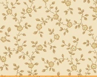 By The HALF YARD - Secrets and Shadows by Nancy Gere for Windham,  #39396-4 Tan, Tonal Beige Flowers, Leaves & Stems on a Tonal Creamy white
