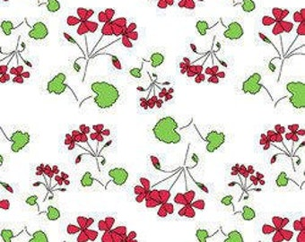 By The HALF YARD - The Red Thread by Marisa & Creative Thursday for Andover, Patt. #A5907-L Clover Patch White, Tossed Red Flowers on White